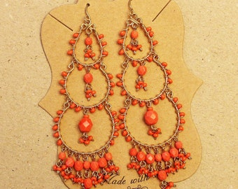 Coral Chandelier Earrings, Orange Earrings, Earrings for Spring, Coral Beaded Earrings, Long Orange Earrings, Orange Statement Earrings,