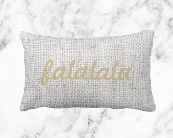 Burlap 'Falalala' Pillow  // Holiday Decor Throw Pillow