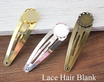 Lace Bobby Pin Blanks - Hair Clips Blanks, Round Bezel Cup Cabochon/ Cameo Mountings - Hair Bobby Pin Bezels - Hair Accessory Findings