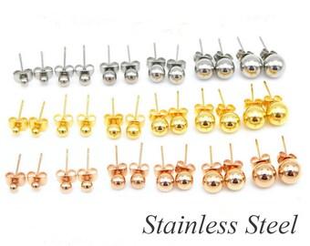 Ball Stainless Steel Earring Stud - Earring Post- 20PCS Ball Stud Blank earrings- Hypoallergenic Earring Finding-Earring Blank Findings