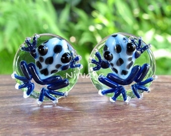 "Sky Blue Frogs with Black Spots Glass Plugs - 1 PR  00g 7/16"" 1/2"" 9/16"" 5/8"" 3/4"" 1"" 9.5 mm 10 mm 12 mm 14 mm 16 mm 18 mm 20 mm 22 mm 25 mm"
