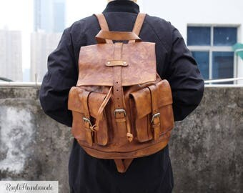 Women's Travel Rucksack,Dip Dye Real Leather Backpack,School Bag,Handmade,Vintage Style College Bag