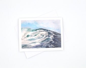 wave art card - watercolor seascape notecard - nautical themed blank cards - sailors greeting card - watercolor notecard - nautical greeting
