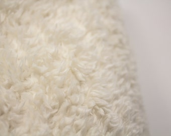 Faux Fur Sherpa, Plush Fabric, Fur, Ivory, Sherpa, Baby blanket, lovey, Baby sewing, Blanket sewing, Home decor, Housewares, sherpa