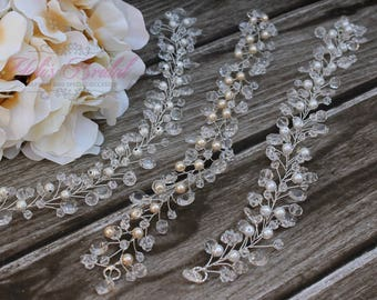 New!!!  Silver Crystal and Pearl Hair Vine, Bridal Hair Vine, Wedding Hair Comb, Bridal Headband