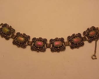 Vintage Signed Judy Lee Iridescent Cabochon Bracelet in Antique Gold Tone