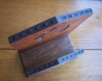 Rustic Oak Letter Rack, Napkin Holder, Hand Carved, Wooden Rack, Windmill, Farmhouse Decor, Gift for Him Her