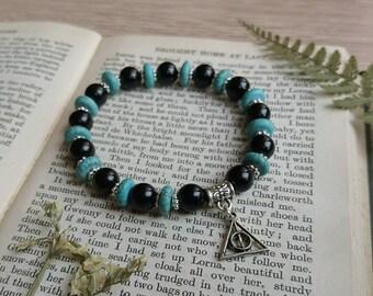 Turquoise and black bead bracelet | black and turquoise bracelet | deathly hallows bracelet | Harry Potter inspired bracelet | M