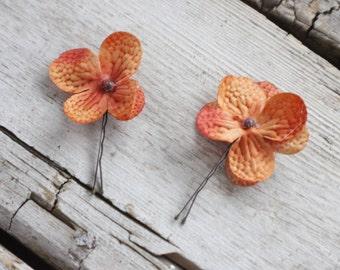 Bridal Hair Pins, Wedding Hairpins, hydrangea flower Hair Pins, flower Bobby Pins, Hair Pins - Set of 2 , fairy dress up, flower hair pins