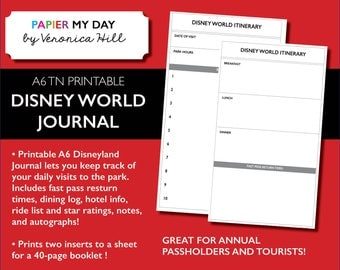 Disney World Journal - Printable A6 Disney Journal for Travelers Notebooks (40 pages!)