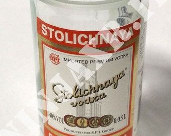 Shot Vodka Stolichnaya Glass bottle Mignon 5 cl Recycle creative furniture reuse design Idea gift