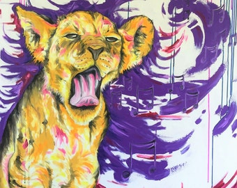 Lion Painting | Lion Art by Aidan Weichard | Original Painting on Canvas | African Animal Art |  'Cub Melody' 101 x 101cm |