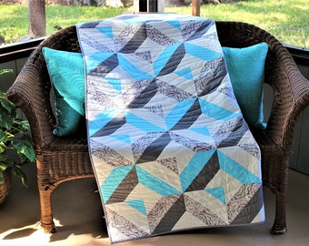 "Handmade Patchwork Aqua and Gray Batik Quilt, Sofa Throw, Bed Coverlet, 63"" x 56"" ""Diamond Bay"""