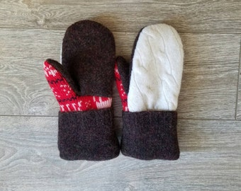 White Cable Sweater Mittens //LoveWoolies Mittens //Fleece Lined