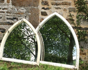 Antique French church window frame mirror