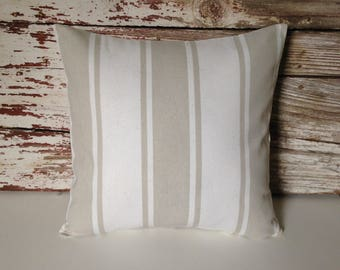 cream/beige stripe pillow cover