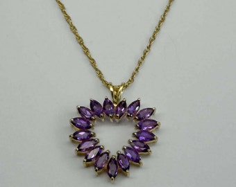 10Kt Yellow Gold Marque Purple 3.4ct Amethyst Sweet Heart Pendant Charm