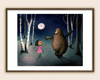 "Art Print - Children's Illustration: ""Dancing with Bear"""