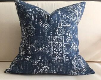 Navy Blue Ikat Pillow Cover - MARTIN