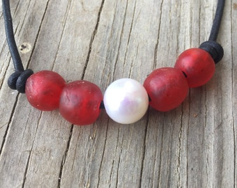 Pearl, African glass and leather necklace - glass necklace - leather necklace - Boho necklace - recycled glass beads - layering necklace