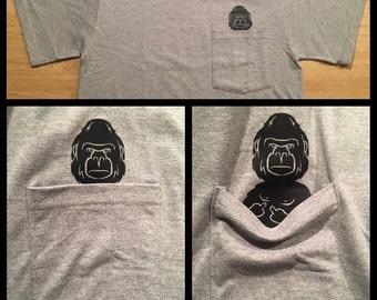 Middle Finger Harambe Gorilla Pocket T Shirt