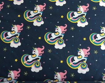 Navy Rainbow Unicorn Mane Star Metre Jersey Cotton Elastin Oeko-tex Organic