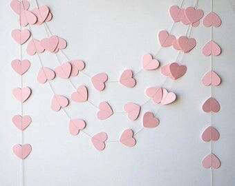 Pink Heart Paper Garland, Wedding Decor, Baby Shower, Photo Backdrop, Nursery Decor