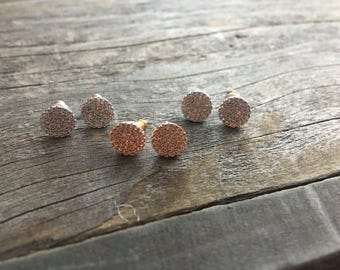Pave disk earrings