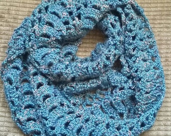 Crochet infinity Scarf in Dark Turquoise, Tan and Metallic Wool Pretty Open Work Pattern