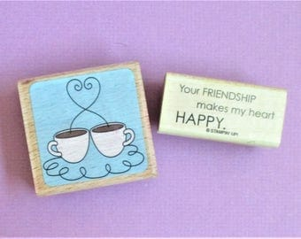 Set of 2 Images Coffee Cups Friendship Quote Papercraft Rubber Stamps Wood Block Mounted Planner Goodie Scrapbooking Card Making DIY Crafts