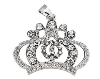 Silver Crown Rhinestone Chunky Bead Bubblegum Pendant