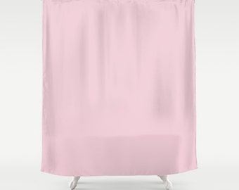 Roses shower curtain etsy for Plain pink shower curtain