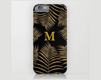 Custom Device case for iPhone 5/5s, iPhone 6/ 6s, iPhone 7/ 7s, Samsung, Galaxy, Black, Gold, Palm, Leaves, Custom, Nature, Gift, Christmas