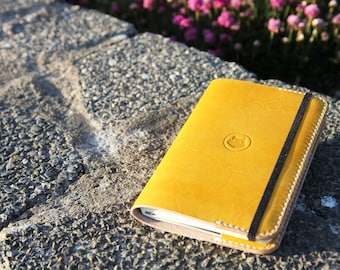 Yellow Leather Moleskine pocket notebook cover. Leather note book. Leather cover for Moleskine soft case. Leather moleskine cover