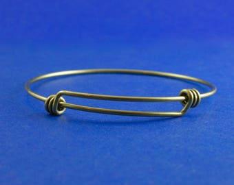 1 pcs -Adjustable Antiqued Brass Wire Bracelet, Expandable Wire Bracelet, Bronze Bracelet - AB-B0080758