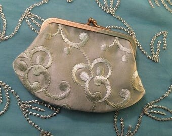 Vintage change purse, light green and gold vintage change purse, likely 1920-1950s