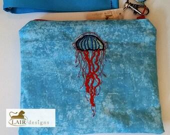Jellyfish Wristlet with Detachable Handle