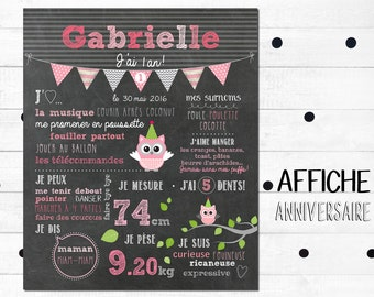 """Displays first personalized birthday """"Pink owls"""" _FICHIER numerique_fete baby 1 year, Blackboard, slate table"""