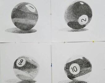 Set of drawn pool balls