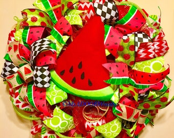 Watermelon Wreath, Summer Watermelon Deco Mesh Wreath, Spring Wreath, Watermelon Decor, Whimsical Summer Wreath Decor, Pool Wreath, XL