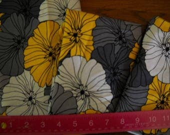 Destash- 3 pieces of Yellow, Gray and White Floral Fabric