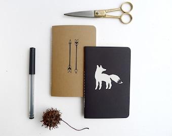 Woodland Jotter Pack / Fox Journal Set / Arrow Notebook Pair / Plain or Graph Paper