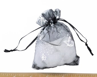 Black Drawstring Bags - Organza Bags - 20 Sheer Bags, Silver Foil Butterflies - 3x4 Drawstring Bags for Jewelry - Party Favor Bags - BG403