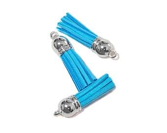 Tassels - 10 Lake Blue Tassel Charms - Small Tassels - Silver Cap Key Chain Tassels - Tassels For Jewelry Making, Wine Charms - TC-S081