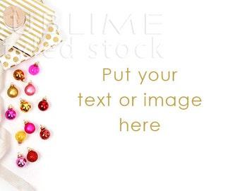 Styled Stock Photography / Christmas Background / Christmas / Mockup / Desktop / Ornaments / Pink Gold / Digital Background / StockStyle-785
