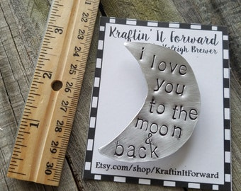 I love you to the moon & back hand stamped magnet