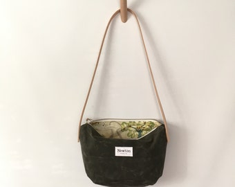 SALE - waxed canvas crossbody bag - olive with patterned lining
