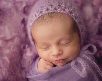 Purple Mohair Knit Bonnet, Newborn Knit Hat, Newborn Bonnet, Newborn Hat, Photo Prop
