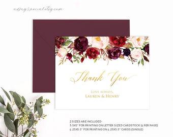 Burgundy Floral Gold Foil Wedding Thank You Card Template, Printable Thank You Card, Fits Vistaprint, DIY PDF Instant download #105