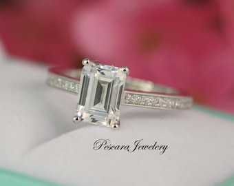 emerald cut engagement ring solitaire ring prong set engagement ring silver engagement ring - Emerald Cut Wedding Rings